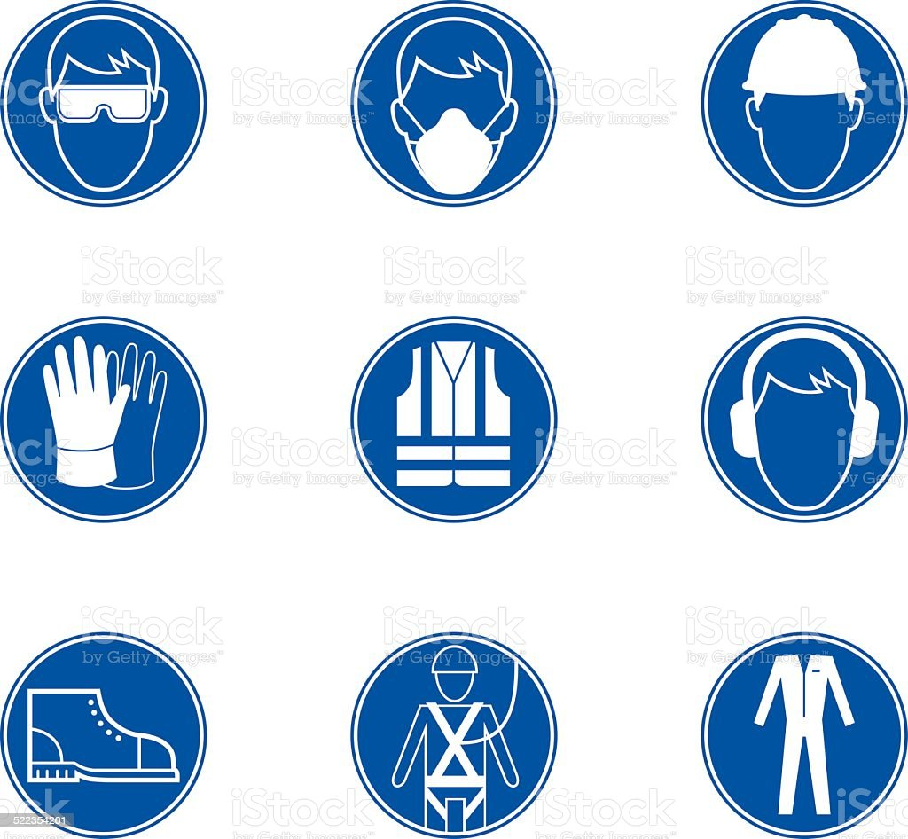 Safety at work signs vector art illustration