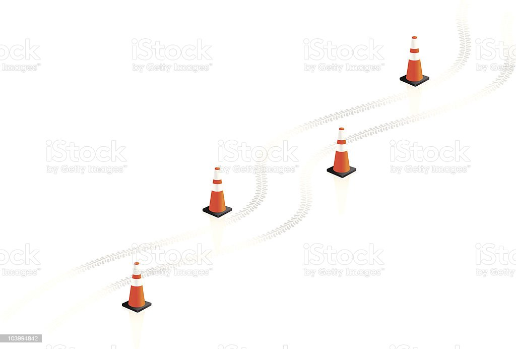 Safety cones with tire tracks on a white background royalty-free stock vector art