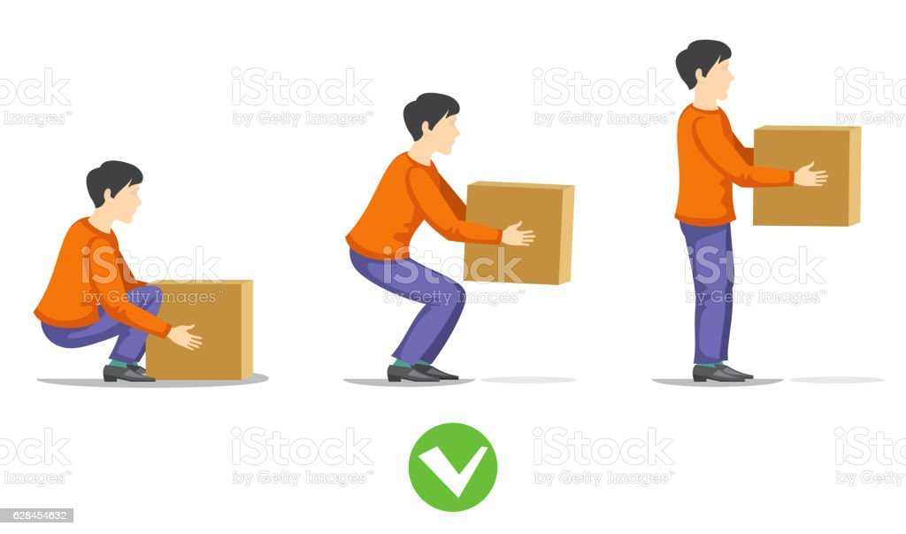 Safety correct lifting of heavy box vector illustration vector art illustration