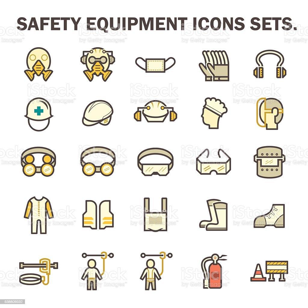 Safety equipment icons vector art illustration
