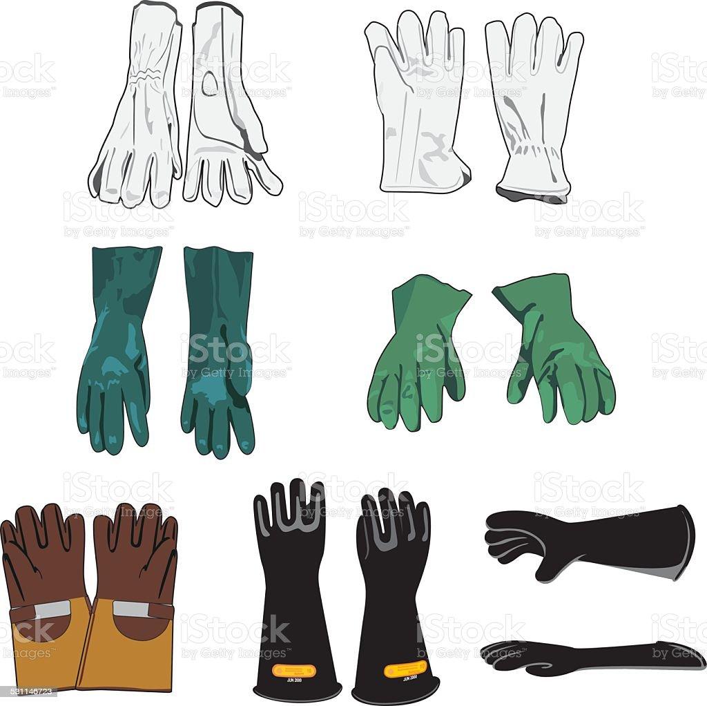 Safety equipment models of protective gloves vector art illustration