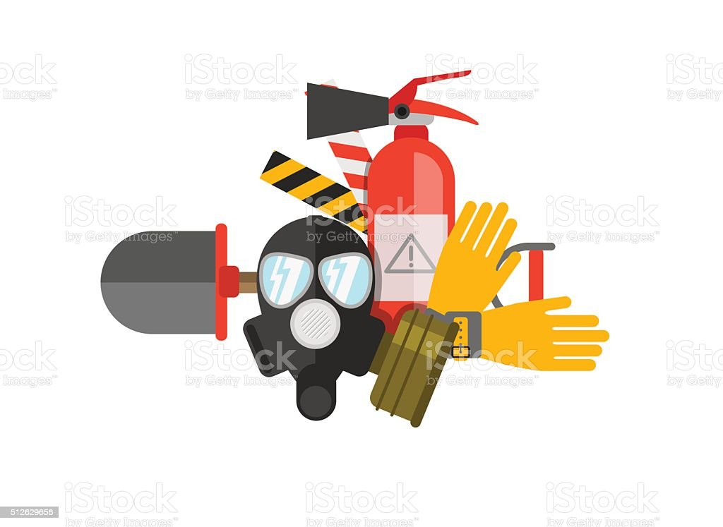 Safety equipment vector set. Fire protection and fire. vector art illustration