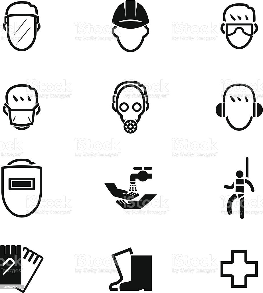 Safety First Icon Set vector art illustration
