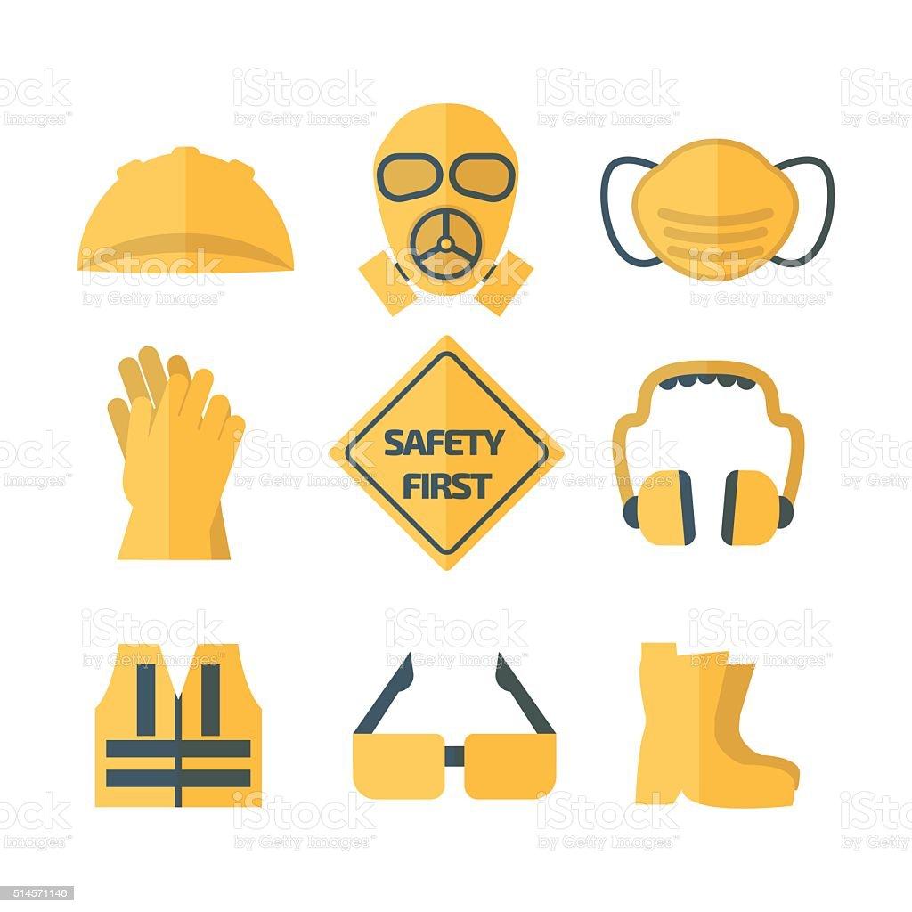 safety first icon set vector illustration vector art illustration
