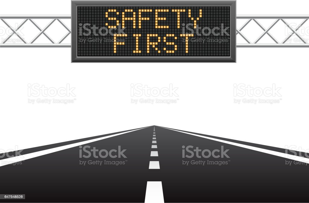 Safety first on LED screen vector art illustration