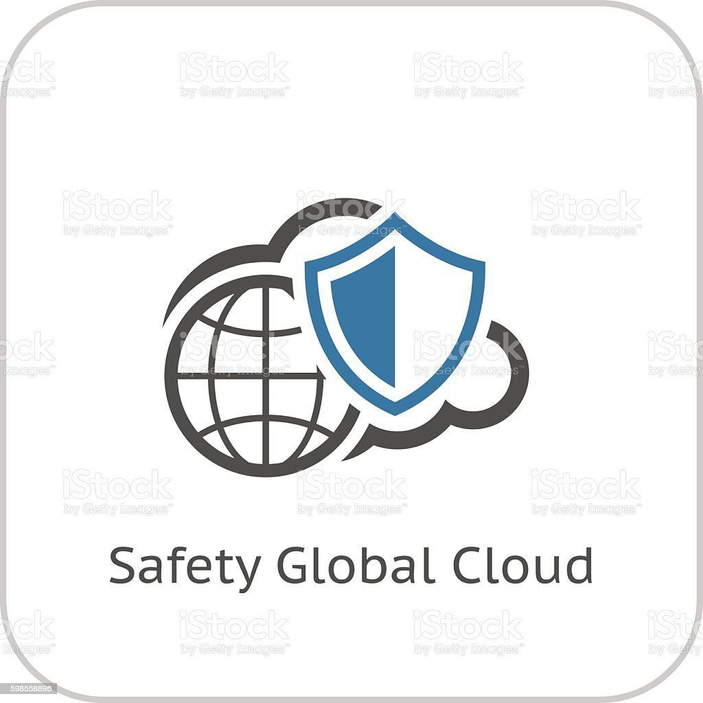Safety Global Cloud Icon. Flat Design. vector art illustration