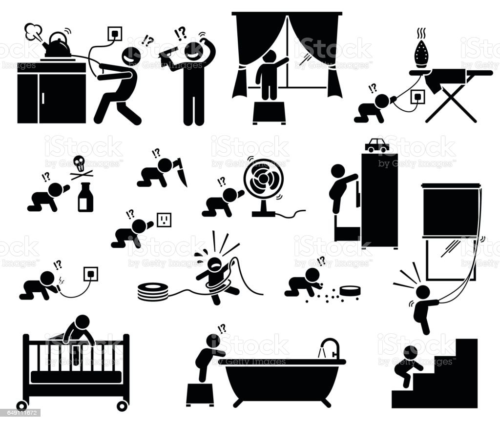 Safety hazard at home for children. vector art illustration