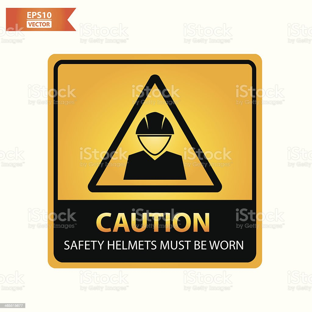 Safety helmets must be worn text and sign. royalty-free stock vector art