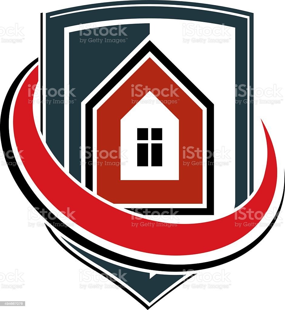 Safety idea, abstract vector heraldic symbol with house. vector art illustration
