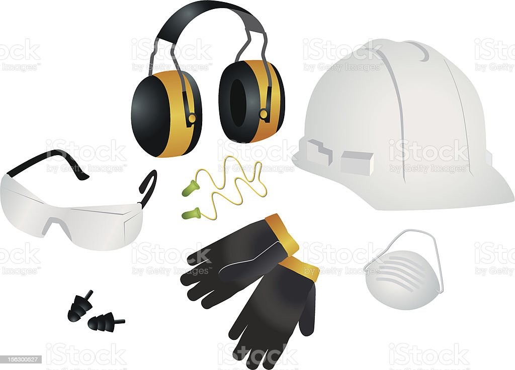 Safety items vector art illustration