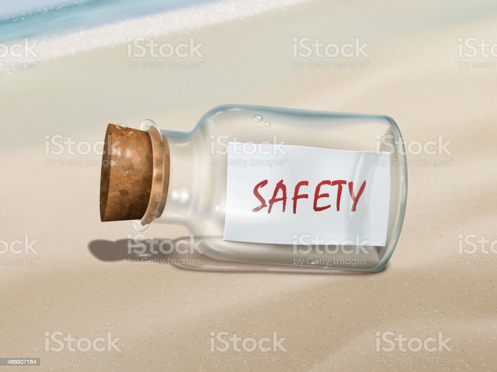 safety message in a bottle vector art illustration
