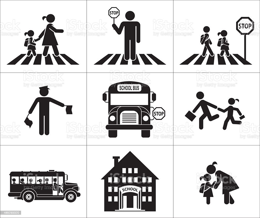 Safety of children in traffic vector art illustration
