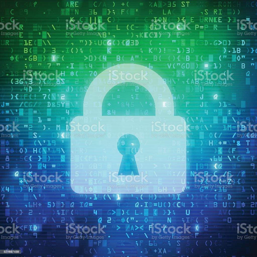 Safety padlock icon computer digital data code background vector art illustration