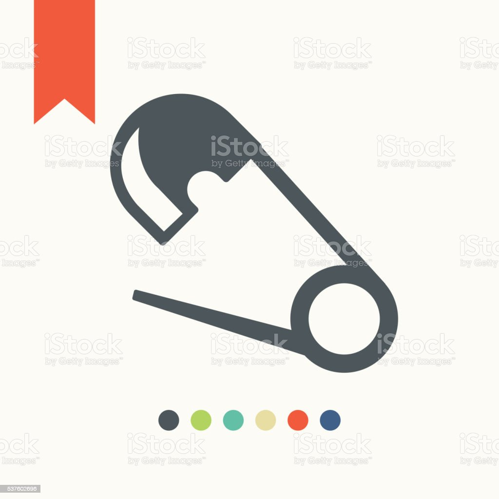Safety pin icon vector art illustration