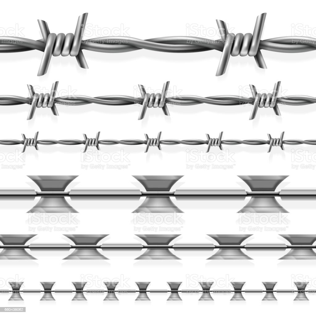 Prison Fence Graphic safety steel barbed and razor wire vector seamless prison borders