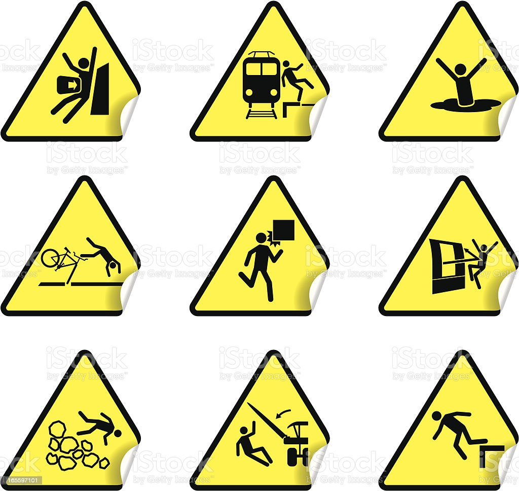 Safety Warning Sticker Set 6 royalty-free stock vector art