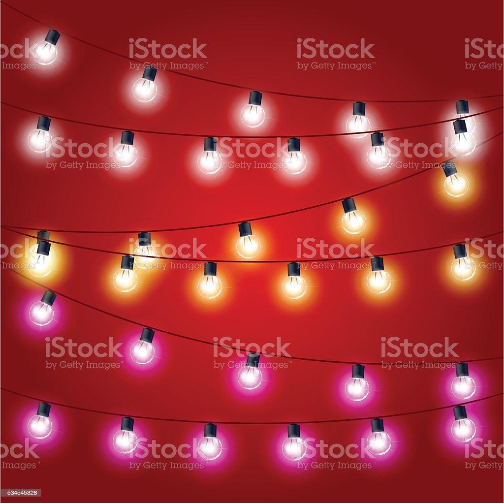 Sagging strung  of Christmas Lights - carnival decorations vector art illustration