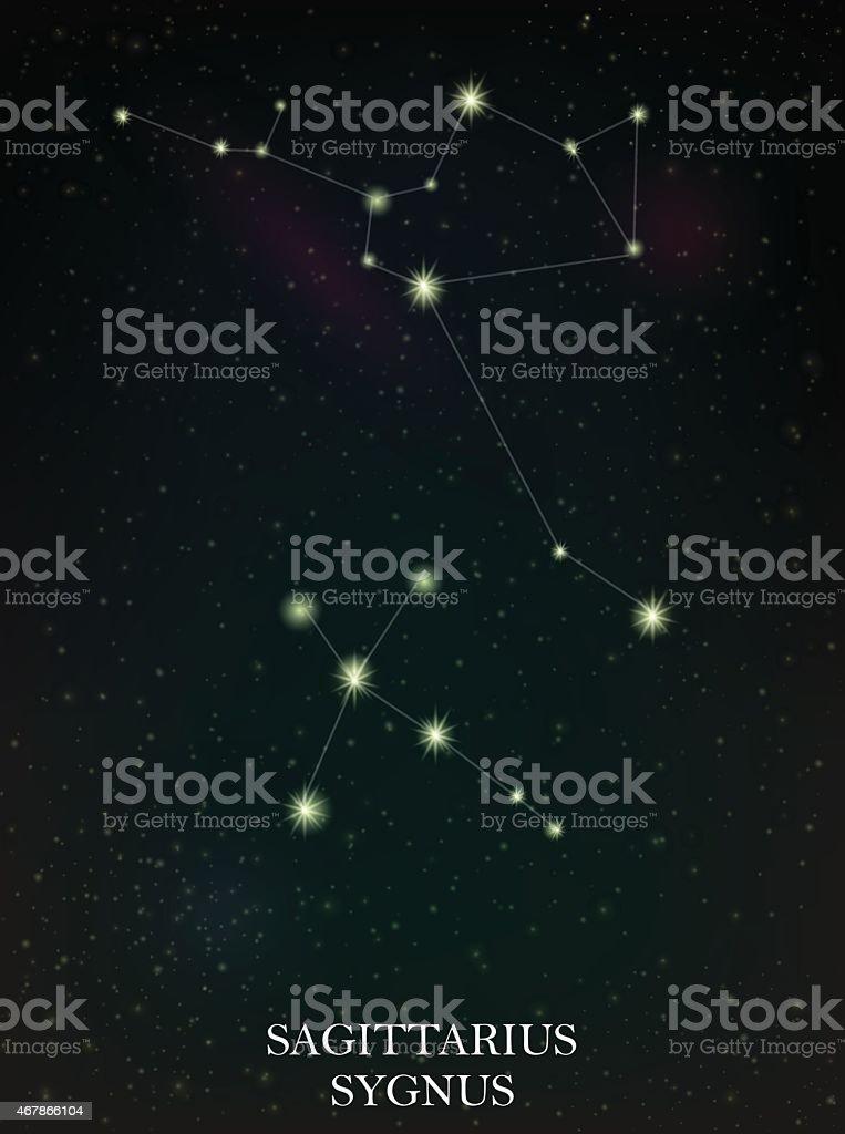 Signe du sagittaire et Sygnus constellation stock vecteur libres de droits libre de droits