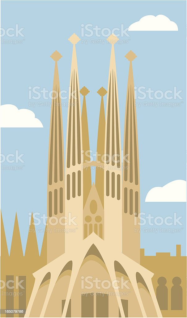 Sagrada Familia in Barcelona, Spain royalty-free stock vector art
