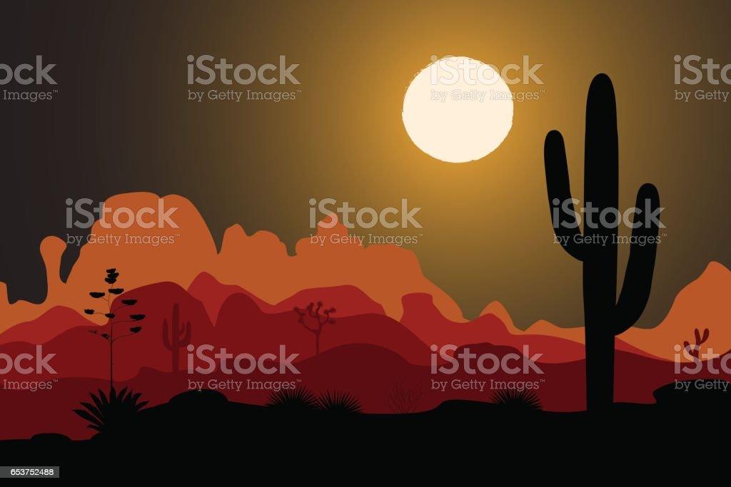 Saguaro cactus tree in night desert vector art illustration