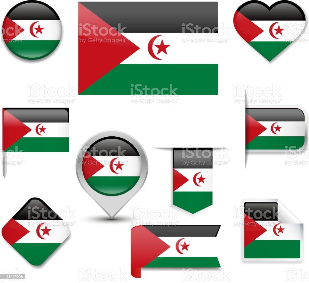 Sahrawi Arab Democratic Republic Flag Collection vector art illustration