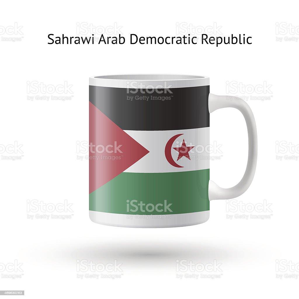 Sahrawi Arab Democratic Republic flag souvenir mug on white. vector art illustration