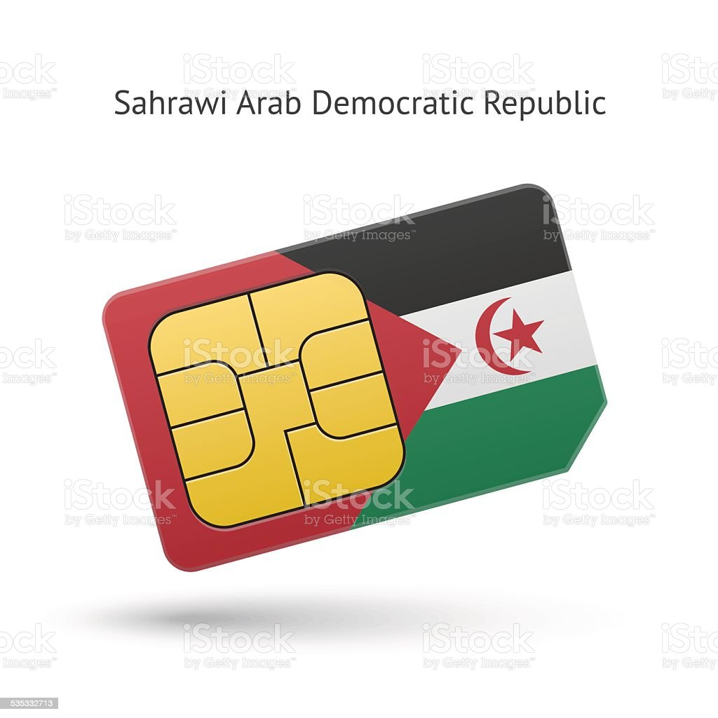 Sahrawi Arab Democratic Republic phone sim card with flag vector art illustration
