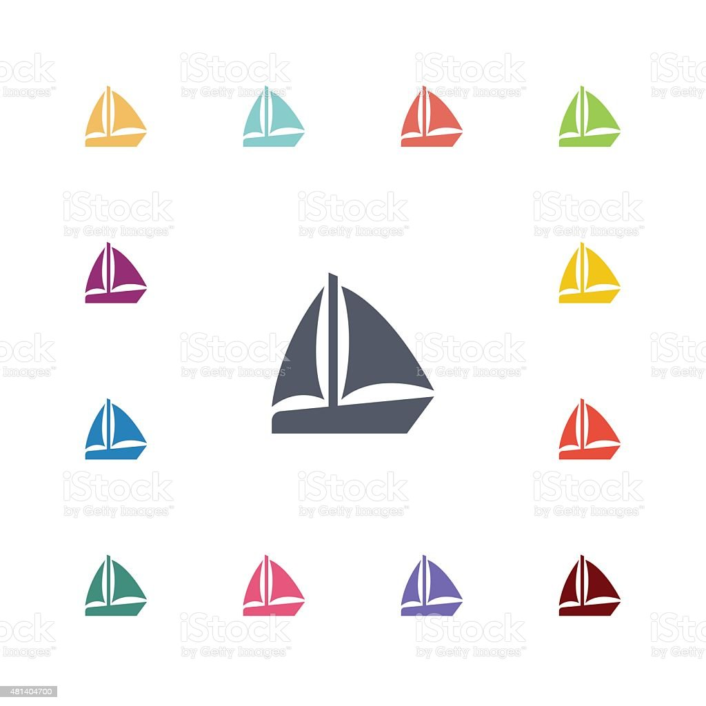 sail boat flat icons set vector art illustration