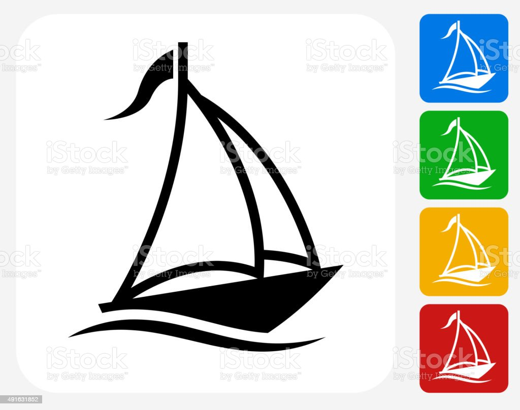 Sail Boat Icon Flat Graphic Design vector art illustration