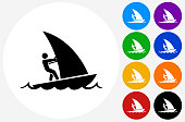 Sail Boat Icon on Flat Color Circle Buttons