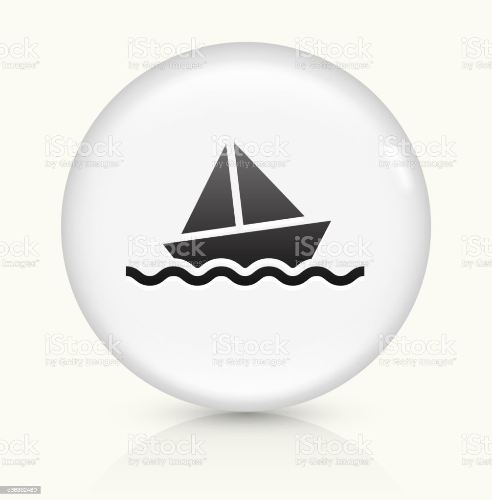 Sail Boat icon on white round vector button vector art illustration