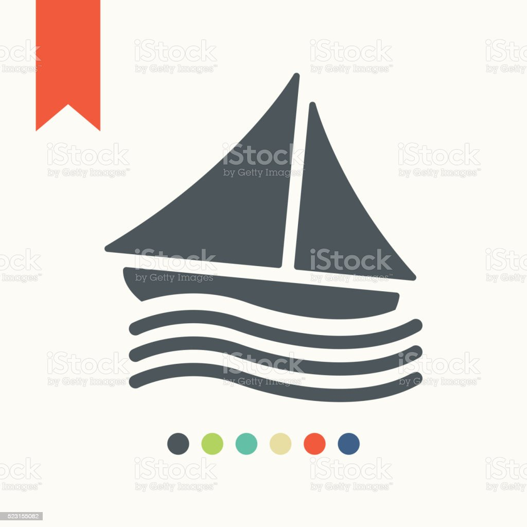 Sail boat icon vector art illustration