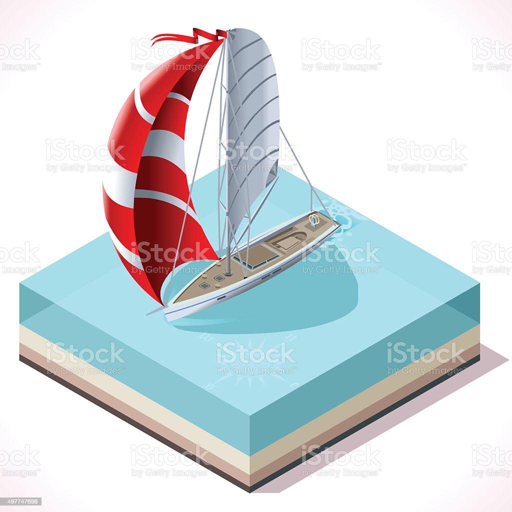 Sail Boat Set 02 Vehicle Isometric vector art illustration