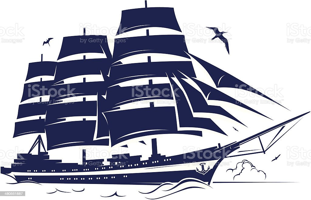 sail ship vector art illustration