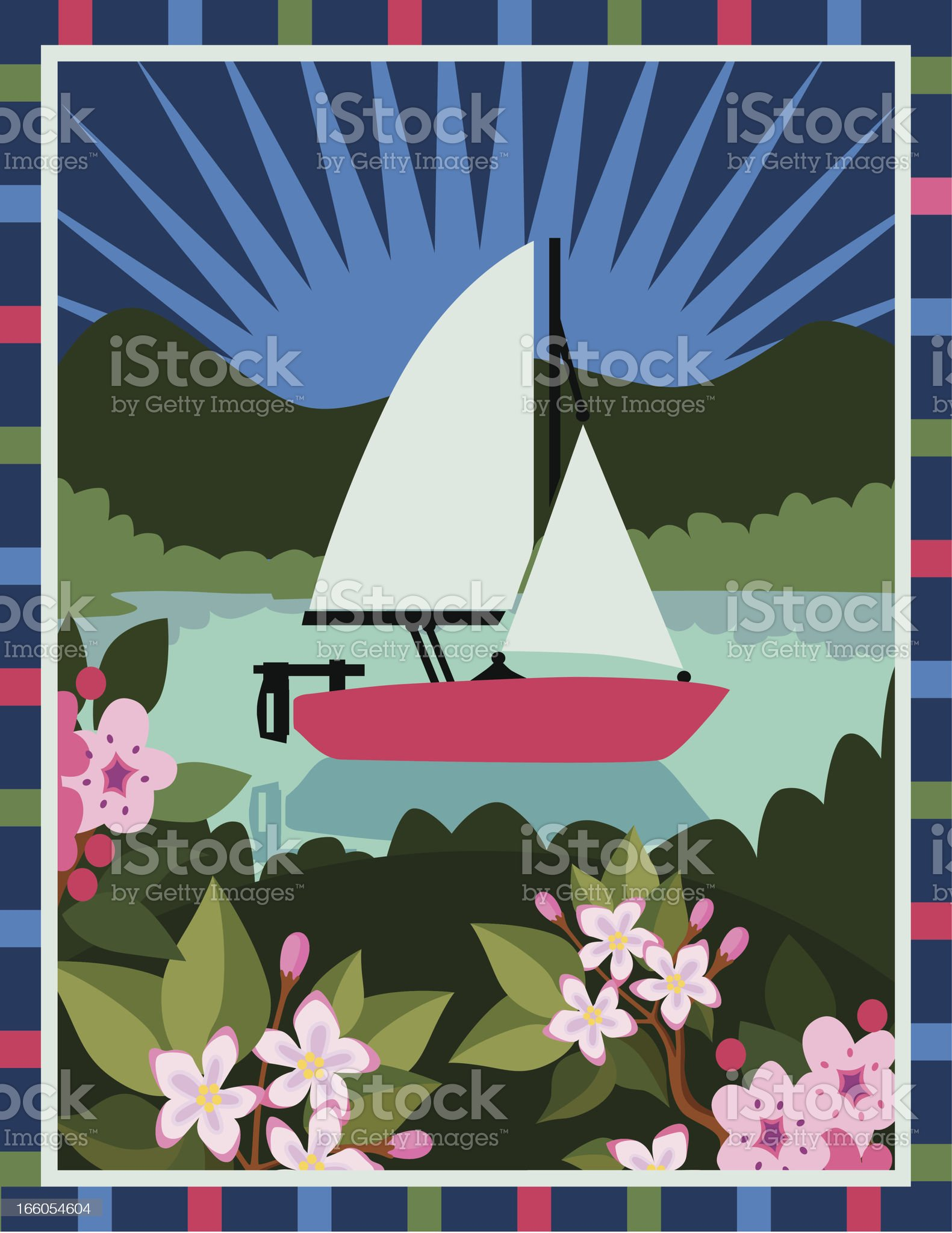 sailboat and mayflowers royalty-free stock vector art