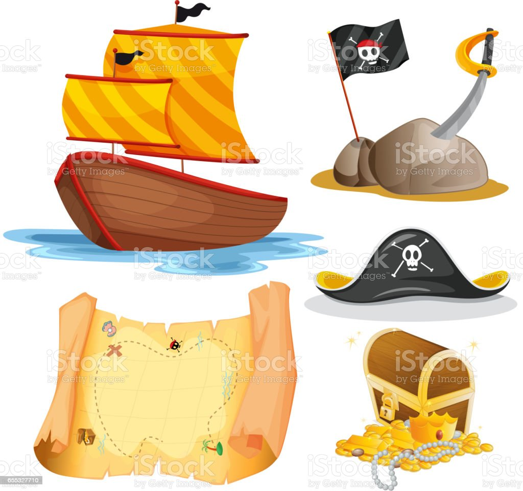 Sailboat and other pirate elements vector art illustration