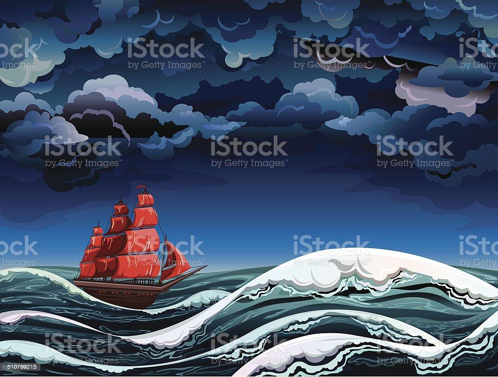 Sailboat and shtorm. vector art illustration