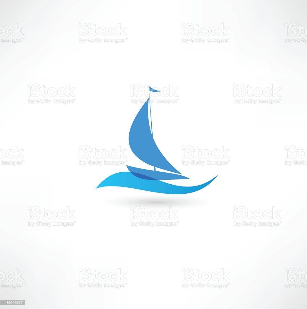Sailboat Emblem vector art illustration