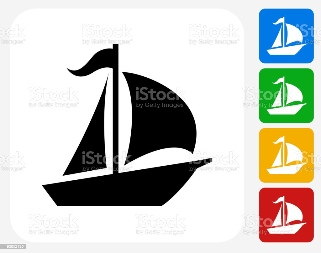 Sailboat Icon Flat Graphic Design vector art illustration