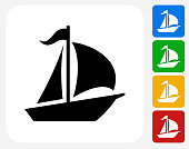 Sailboat Icon Flat Graphic Design