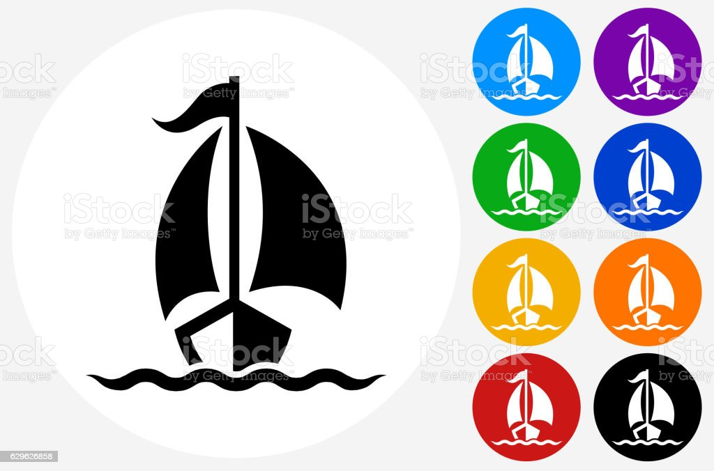 Sailboat Icon on Flat Color Circle Buttons vector art illustration