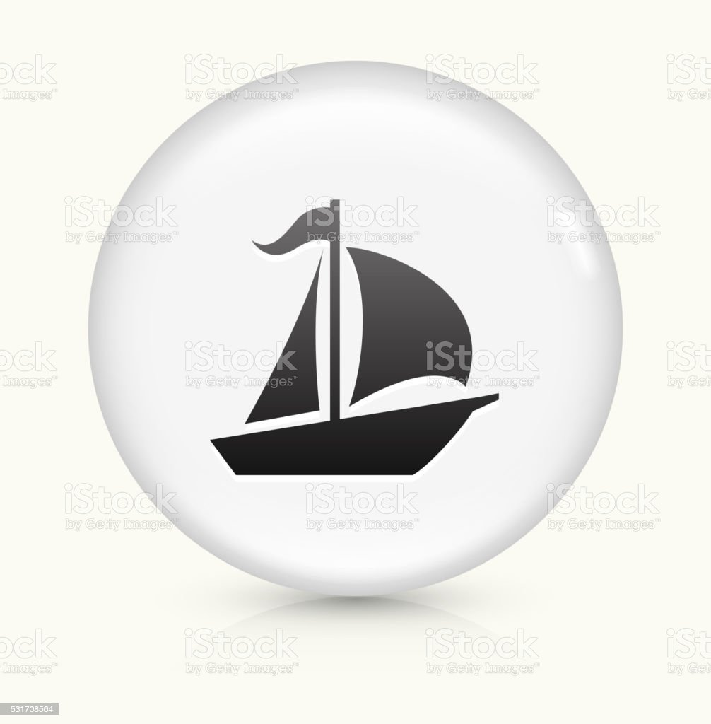 Sailboat icon on white round vector button vector art illustration