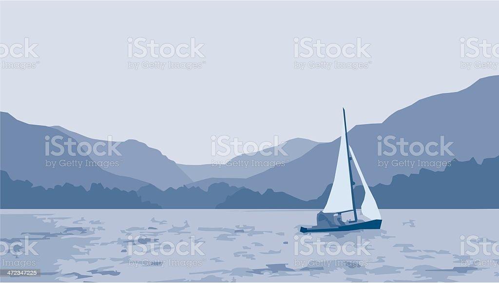 Sailboat Lake Scene vector art illustration