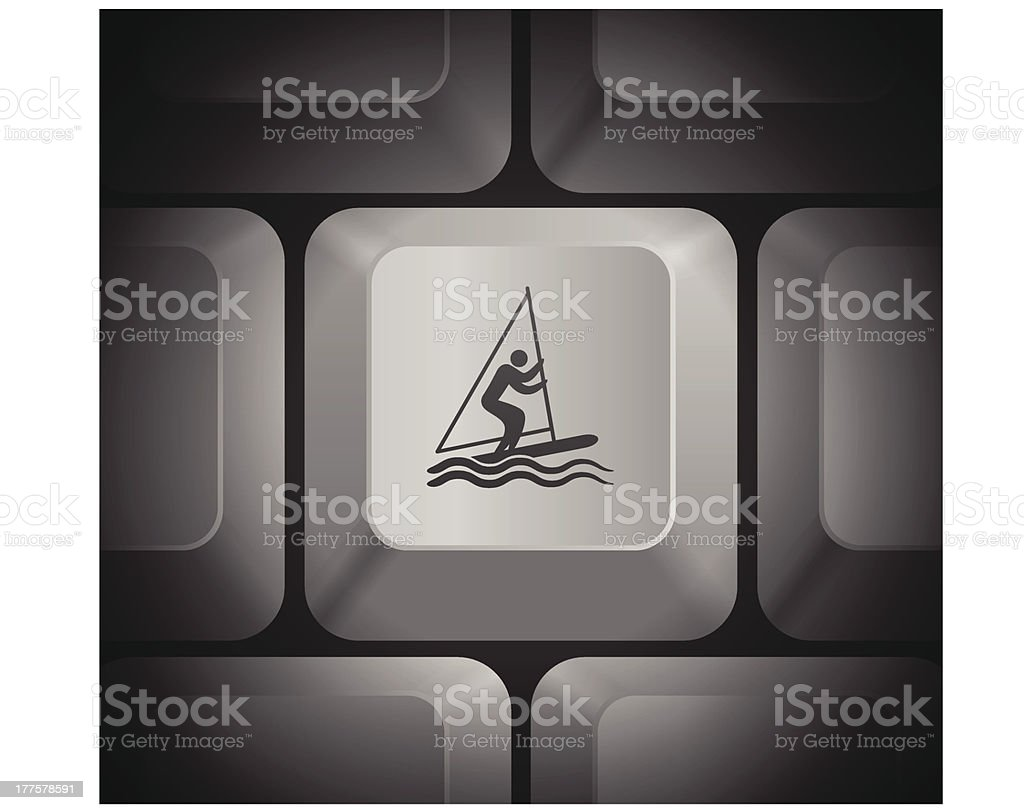 Sailboat Man Icon on Computer Keyboard royalty-free stock vector art