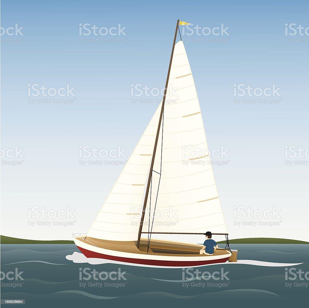 Sailboat vector art illustration