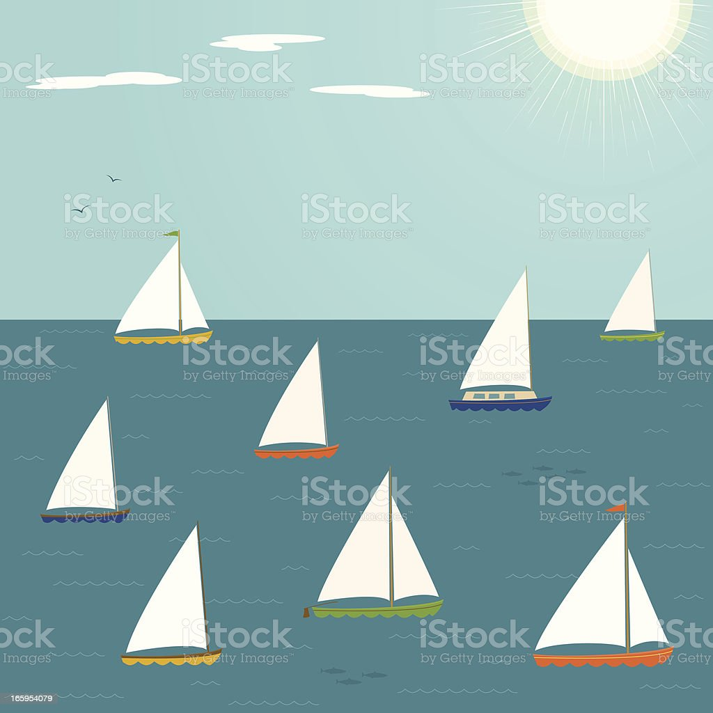 Sailboats on a sunny day royalty-free stock vector art