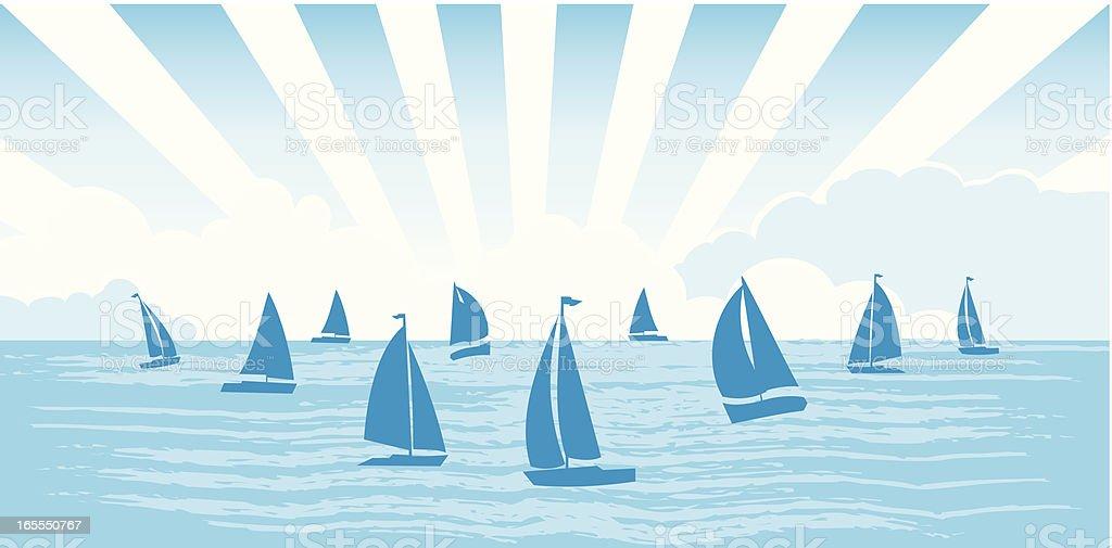 Sailboats on the sea royalty-free stock vector art