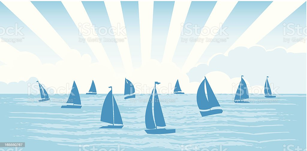 Sailboats on the sea vector art illustration