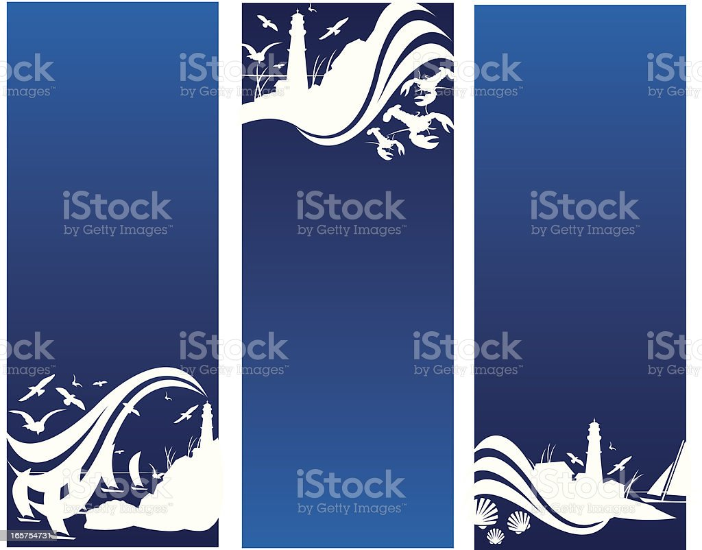 Sailboats, Sea Shells, Nautical Lighthouse Banners royalty-free stock vector art