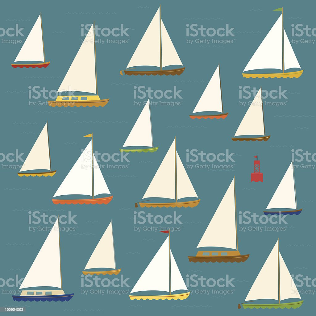 Sailboats royalty-free stock vector art